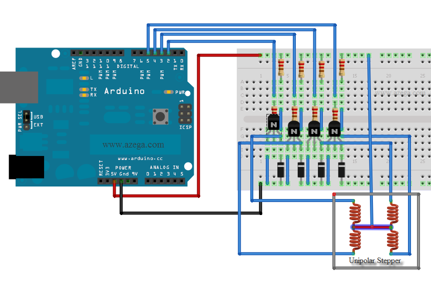 Controlling a stepper motor with an arduino azega for Arduino and stepper motor